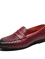cheap -Men's Spring / Fall Casual / British Wedding Party & Evening Loafers & Slip-Ons Walking Shoes Faux Leather Non-slipping Black / Burgundy