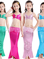 cheap -The Little Mermaid Princess Dress Flower Girl Dress Girls' Movie Cosplay A-Line Slip Purple / Fuchsia / Green Skirt Bra Briefs Children's Day Masquerade Satin / Tulle