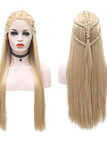 cheap -Synthetic Lace Front Wig Straight Side Part Lace Front Wig Blonde Long Blonde Synthetic Hair 18-26 inch Women's Soft Adjustable Party Blonde