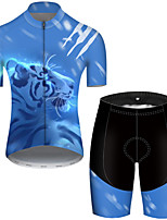 cheap -21Grams Men's Short Sleeve Cycling Jersey with Shorts Nylon Polyester Black / Blue Galaxy Animal Tiger Bike Clothing Suit Breathable Quick Dry Ultraviolet Resistant Reflective Strips Sweat-wicking