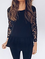 cheap -Women's Solid Colored Lace Backless Patchwork T-shirt Daily Black
