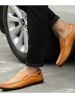 cheap -Men's Spring & Summer Casual Daily Loafers & Slip-Ons Leather Black / Yellow / Brown