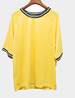 cheap -Women's T-Shirt Short Sleeve Round Neck Stitched With Knitted Stripe - Yellow