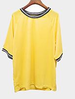 Недорогие -женская футболка с коротким рукавом шею сшитая с трикотажной полосой - желтый