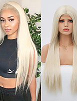 cheap -Synthetic Lace Front Wig Natural Straight Silky Straight Middle Part Lace Front Wig Blonde Long Light Blonde Synthetic Hair 18-24 inch Women's Cosplay Heat Resistant Party Blonde