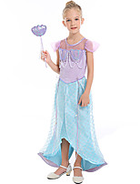 cheap -The Little Mermaid Dress Flower Girl Dress Girls' Movie Cosplay A-Line Slip Light Blue Dress Children's Day Masquerade Satin / Tulle Polyster