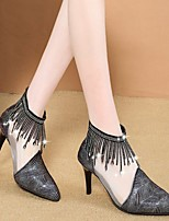 cheap -Women's Boots Summer Stiletto Heel Pointed Toe Daily PU Black / White / Black