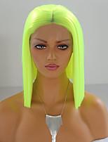 Недорогие -Синтетические кружевные передние парики Шелковисто-прямые Средняя часть Лента спереди Парик Короткие флуоресцентный зеленый Искусственные волосы 8-16 дюймовый Жен. Мягкость Жаропрочная синтетический