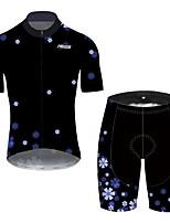 Недорогие -21Grams Муж. С короткими рукавами Велокофты и велошорты Черный / синий Цветочные ботанический Велоспорт Устойчивость к УФ Быстровысыхающий Виды спорта С узором Горные велосипеды Шоссейные велосипеды