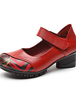 cheap -Women's Heels 2020 Summer Cuban Heel Round Toe Vintage Chinoiserie Daily Outdoor Leather / Nappa Leather Walking Shoes Dark Red / Black