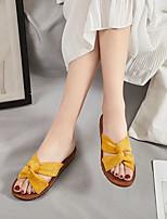 cheap -Women's Sandals Flat Sandal Summer Flat Heel Open Toe Daily Suede Black / Yellow / Beige