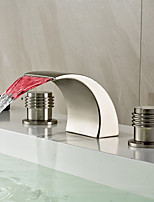 cheap -Bathroom Sink Faucet - LED / Widespread / Waterfall Nickel Brushed Deck Mounted Two Handles Three HolesBath Taps