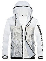 cheap -Men's Hiking Skin Jacket Hiking Jacket Summer Outdoor Camo Waterproof Sunscreen Breathable Quick Dry Jacket Hoodie Top Running Hunting Fishing White / Camping / Hiking / Caving
