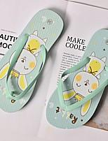 cheap -Women's Slippers & Flip-Flops Summer Flat Heel Open Toe Daily PU Pink / Green / Gray