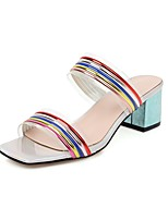cheap -Women's Sandals 2020 Summer Block Heel Open Toe Minimalism Boho Daily Party & Evening Color Block PU Gold / Blue / Clear / Transparent / PVC