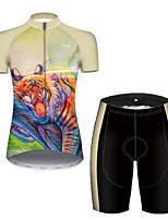 cheap -21Grams Women's Short Sleeve Cycling Jersey with Shorts Polyester Green / Yellow Galaxy Animal Tiger Bike Clothing Suit Breathable Quick Dry Ultraviolet Resistant Reflective Strips Sweat-wicking