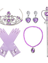 cheap -Princess Crown Outfits Masquerade Girls' Movie Cosplay Cosplay Halloween Purple / Light Purple Gloves Crown Earrings Halloween Carnival Masquerade Resin Plastic / Necklace / Wand