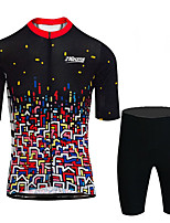 cheap -21Grams Men's Short Sleeve Cycling Jersey with Shorts Black / Red Bike UV Resistant Quick Dry Sports Patterned Mountain Bike MTB Road Bike Cycling Clothing Apparel / Stretchy