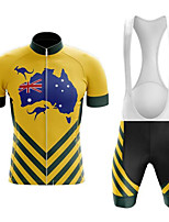 cheap -21Grams Men's Short Sleeve Cycling Jersey with Bib Shorts Black / Yellow Bike UV Resistant Quick Dry Sports Patterned Mountain Bike MTB Road Bike Cycling Clothing Apparel / Stretchy