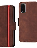 cheap -Case For Samsung Galaxy S20 Ultra / S10 Plus / S8  Card Holder / with Stand / Flip Full Body Cases Solid Colored PU Leather For Galaxy S7 Edge/S10E/S9