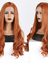 cheap -Synthetic Lace Front Wig Wavy Middle Part Lace Front Wig Long Orange Synthetic Hair 18-26 inch Women's Cosplay Soft Adjustable Brown
