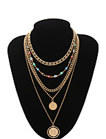 cheap -Women's Choker Necklace Chain Necklace Necklace Stacking Stackable Eyes XOXO Statement Simple Basic Trendy Gold Plated Chrome Gold 35+10 cm Necklace Jewelry For Party Evening Masquerade Street