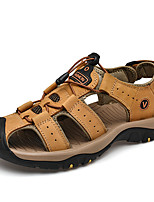 cheap -Men's Fall / Spring & Summer Casual Daily Outdoor Sandals Nappa Leather Breathable Non-slipping Shock Absorbing Light Brown / Dark Brown / Black Color Block