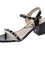 cheap -Women's Sandals Heel Sandals Summer Chunky Heel Open Toe Daily PU White / Black / Beige
