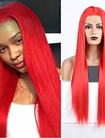 cheap -Synthetic Lace Front Wig Natural Straight Silky Straight Middle Part Lace Front Wig Long Red Synthetic Hair 18-24 inch Women's Cosplay Heat Resistant Party Red
