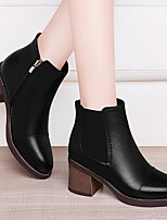 cheap -Women's Boots Fall / Winter Block Heel Pointed Toe Daily Nappa Leather Mid-Calf Boots Black