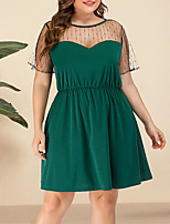 cheap -Women's Plus Size A Line Dress - Short Sleeves Solid Color Lace Mesh Summer V Neck Casual Street chic Daily Going out Belt Not Included Loose 2020 Green L XL XXL XXXL XXXXL