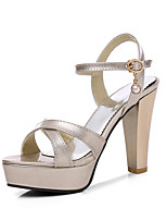 cheap -Women's Sandals Summer Chunky Heel Peep Toe Daily Patent Leather Black / Gold / Silver