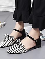 cheap -Women's Sandals Flat Sandal Summer Flat Heel Pointed Toe Daily PU Black / Beige