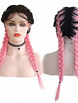 cheap -Synthetic Lace Front Wig Box Braids Middle Part with Baby Hair Lace Front Wig Pink Ombre Long Ombre Pink Synthetic Hair 18-26 inch Women's Soft Adjustable Party Pink Ombre