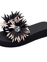 cheap -Women's Slippers & Flip-Flops 2020 Summer Flat Heel Open Toe Casual Sweet Daily Beach Satin Flower / Sparkling Glitter Solid Colored EVA(ethylene-vinyl acetate copolymer) Walking Shoes Black / Red