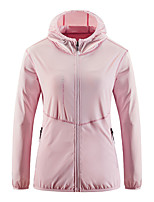 cheap -Women's Hiking Skin Jacket Hiking Jacket Summer Outdoor Windproof Sunscreen Breathable Quick Dry Jacket Top Elastane Single Slider Running Hunting Fishing White / Pink / Blue / Light Green