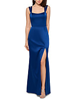 cheap -Sheath / Column Elegant Blue Party Wear Formal Evening Dress Scoop Neck Sleeveless Floor Length Satin with Sleek Split 2020