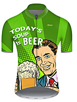 cheap -21Grams Men's Short Sleeve Cycling Jersey Polyester Green Polka Dot Gradient Oktoberfest Beer Bike Jersey Top Mountain Bike MTB Road Bike Cycling Breathable Quick Dry Ultraviolet Resistant Sports