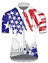 Недорогие -21Grams Муж. С короткими рукавами Велокофты Полиэстер Синий / белый Американский / США Статуя Свободы Флаги Велоспорт Джерси Верхняя часть Горные велосипеды Шоссейные велосипеды / Слабоэластичная