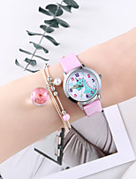 cheap -Girls' Quartz Watches Cartoon New Arrival Black White Pink PU Leather Chinese Quartz White Black Blushing Pink Chronograph Cute Creative 2 Piece Analog One Year Battery Life