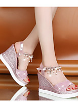cheap -Women's Sandals Wedge Sandals Summer Wedge Heel Round Toe Daily PU Pink / Gold / Silver