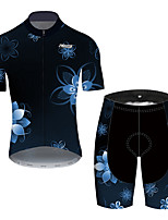 cheap -21Grams Men's Short Sleeve Cycling Jersey with Shorts Black / Blue Floral Botanical Bike UV Resistant Quick Dry Sports Patterned Mountain Bike MTB Road Bike Cycling Clothing Apparel / Stretchy