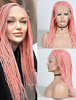 cheap -Synthetic Lace Front Wig Box Braids Plaited Free Part with Baby Hair Lace Front Wig Pink Short Pink Synthetic Hair 14,16 inch Women's Soft Party Women Pink