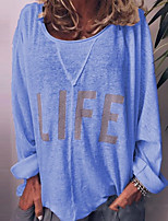 cheap -Women's Letter Loose T-shirt Daily Weekend Blue / Yellow / Khaki / Green / Gray
