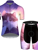 cheap -21Grams Men's Short Sleeve Cycling Jersey with Shorts Polyester Violet Galaxy Cat Animal Bike Clothing Suit Breathable Quick Dry Ultraviolet Resistant Reflective Strips Sweat-wicking Sports Galaxy