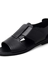cheap -Men's Summer Classic / Casual Daily Outdoor Sandals Cowhide Breathable Non-slipping Wear Proof Black