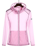 cheap -Women's Hiking Skin Jacket Hiking Jacket Summer Outdoor Sunscreen Breathable Quick Dry Anti-Mosquito Jacket Top Elastane Single Slider Running Hunting Fishing White / Fuchsia / Grey / Green / Blue