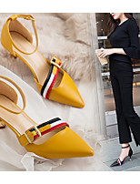 cheap -Women's Heels Spring & Summer Stiletto Heel Pointed Toe Daily Solid Colored PU Black / Yellow / Beige