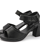 cheap -Women's Sandals Summer Block Heel Open Toe Casual Daily PU Black