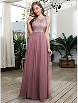 cheap -A-Line Beautiful Back Pink Wedding Guest Prom Dress Jewel Neck Sleeveless Floor Length Tulle with Sequin 2020